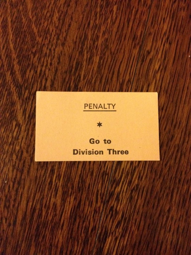 Go directly to division three, do not pass go, do not collect parachute payments. This is 1971.