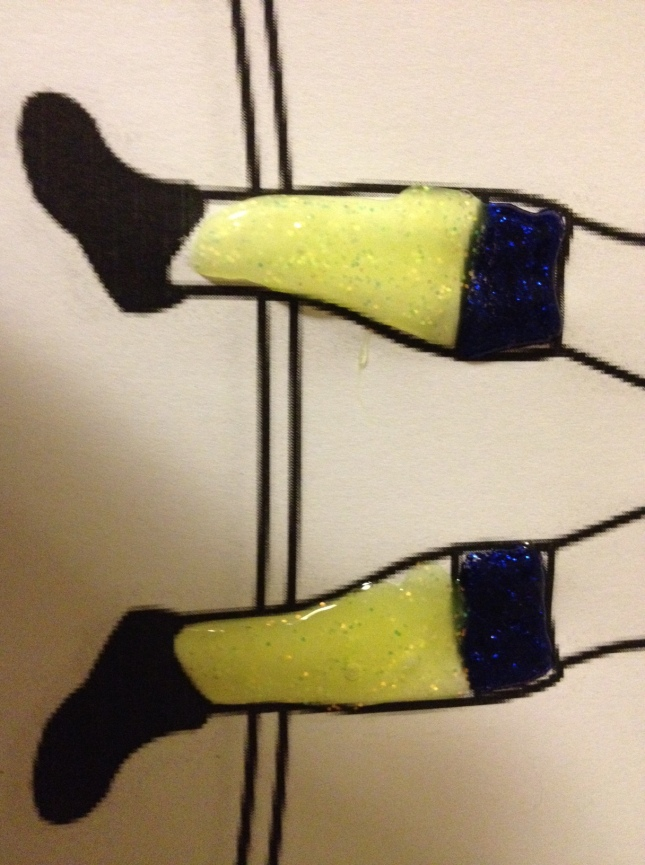 The socks. Blue and yellow, representing my club Cardiff City.