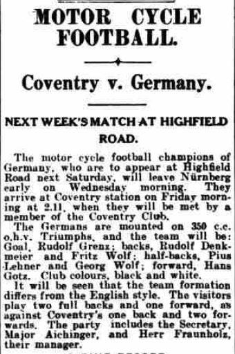 Coventry vs Germany