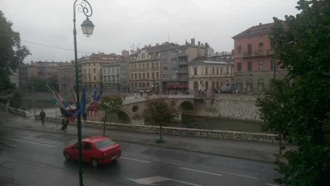 View from our hotel of the historic site where  Archduke Franz Ferdinand was assassinated. A day after Wales would qualify for the finals of their first major tournament since 1958.